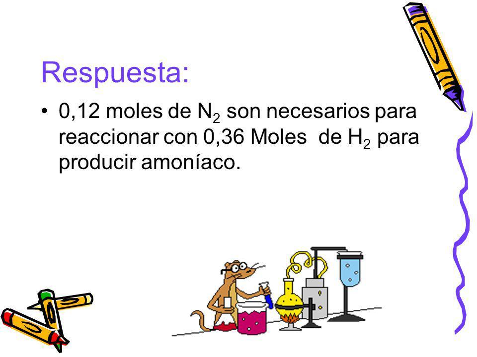 Respuesta: 0,12 moles de N2 son necesarios para reaccionar con 0,36 Moles de H2 para producir amoníaco.