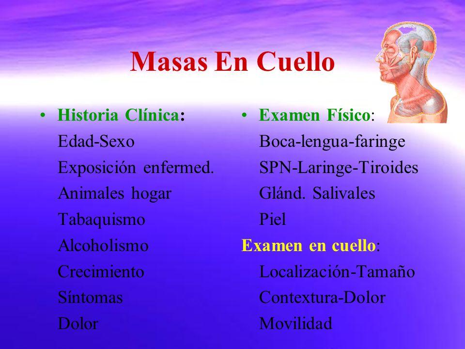 Masas En Cuello Historia Clínica: Edad-Sexo Exposición enfermed.