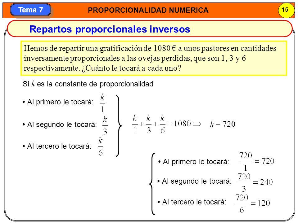 Repartos proporcionales inversos