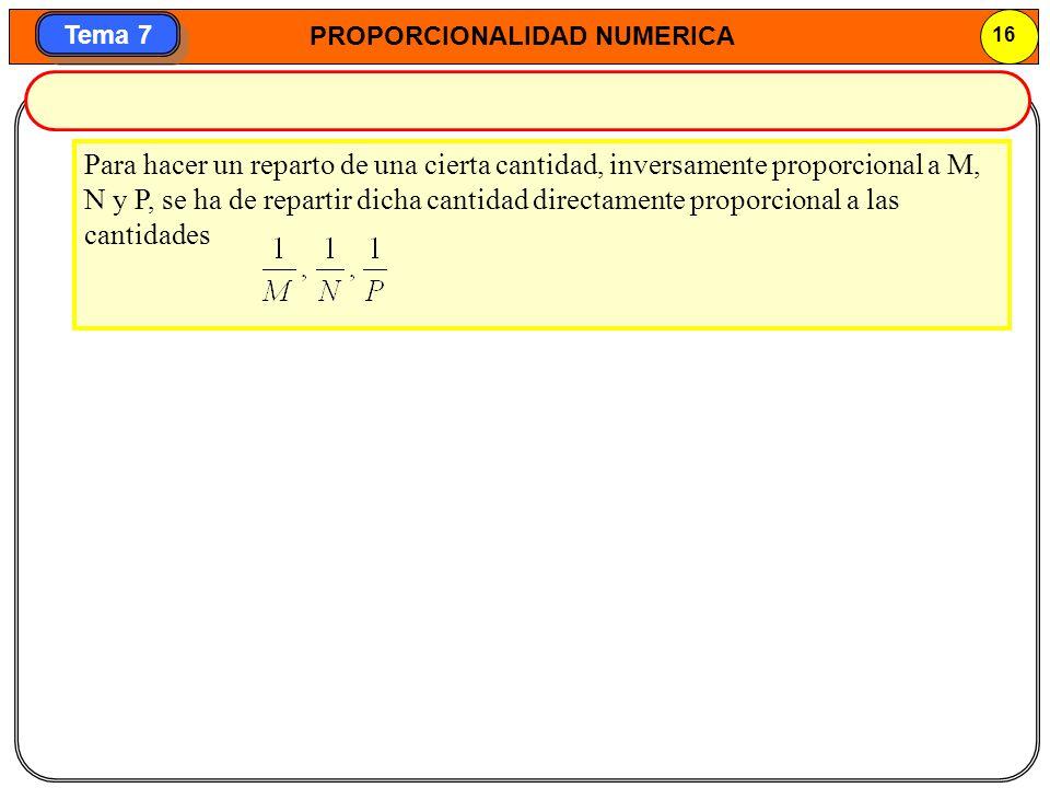 Para hacer un reparto de una cierta cantidad, inversamente proporcional a M, N y P, se ha de repartir dicha cantidad directamente proporcional a las cantidades