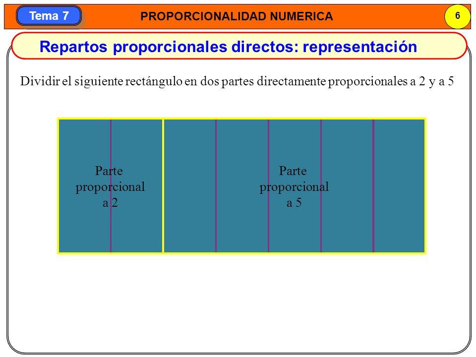 Repartos proporcionales directos: representación