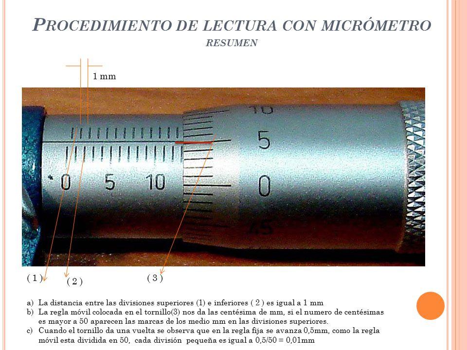 Procedimiento de lectura con micrómetro resumen