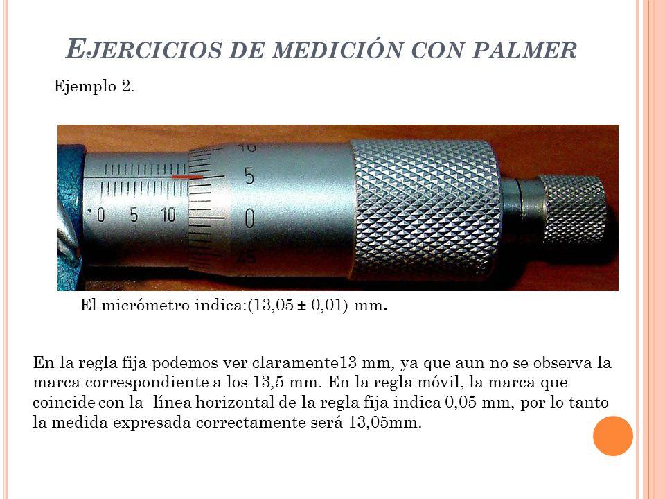 Ejercicios de medición con palmer