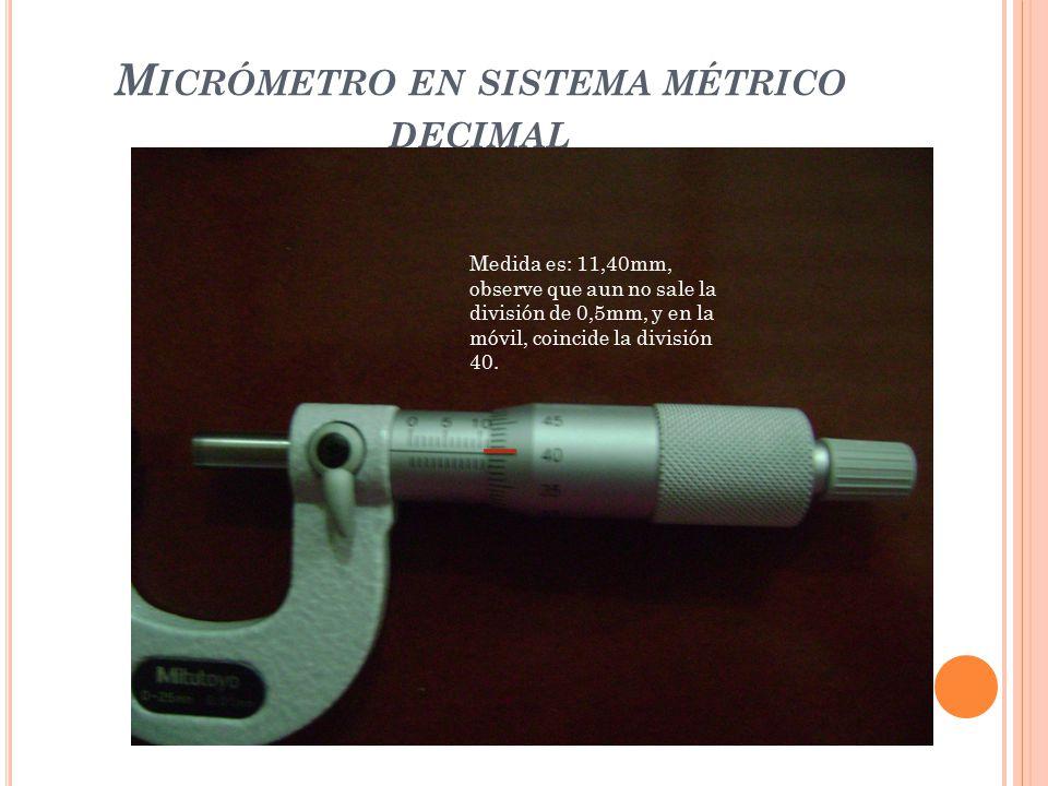 Micrómetro en sistema métrico decimal