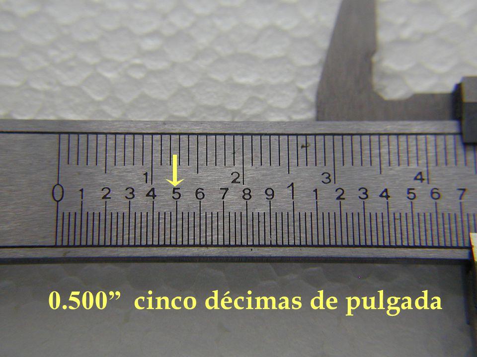 0.500 cinco décimas de pulgada
