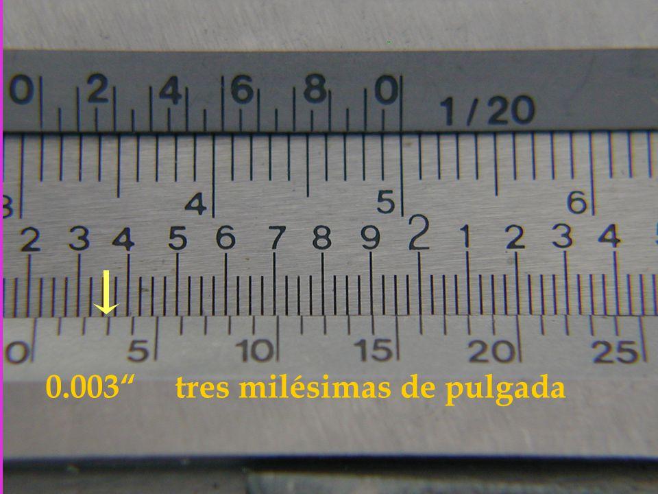 0.003 tres milésimas de pulgada