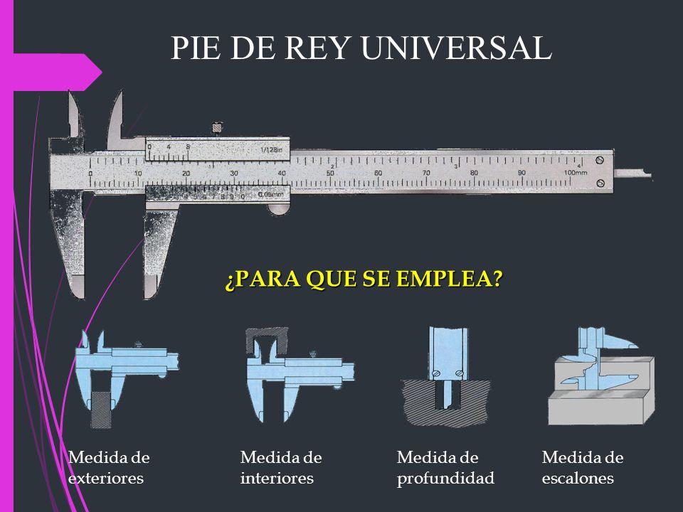 PIE DE REY UNIVERSAL ¿PARA QUE SE EMPLEA Medida de exteriores