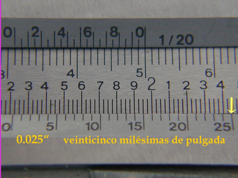 0.025 veinticinco milésimas de pulgada