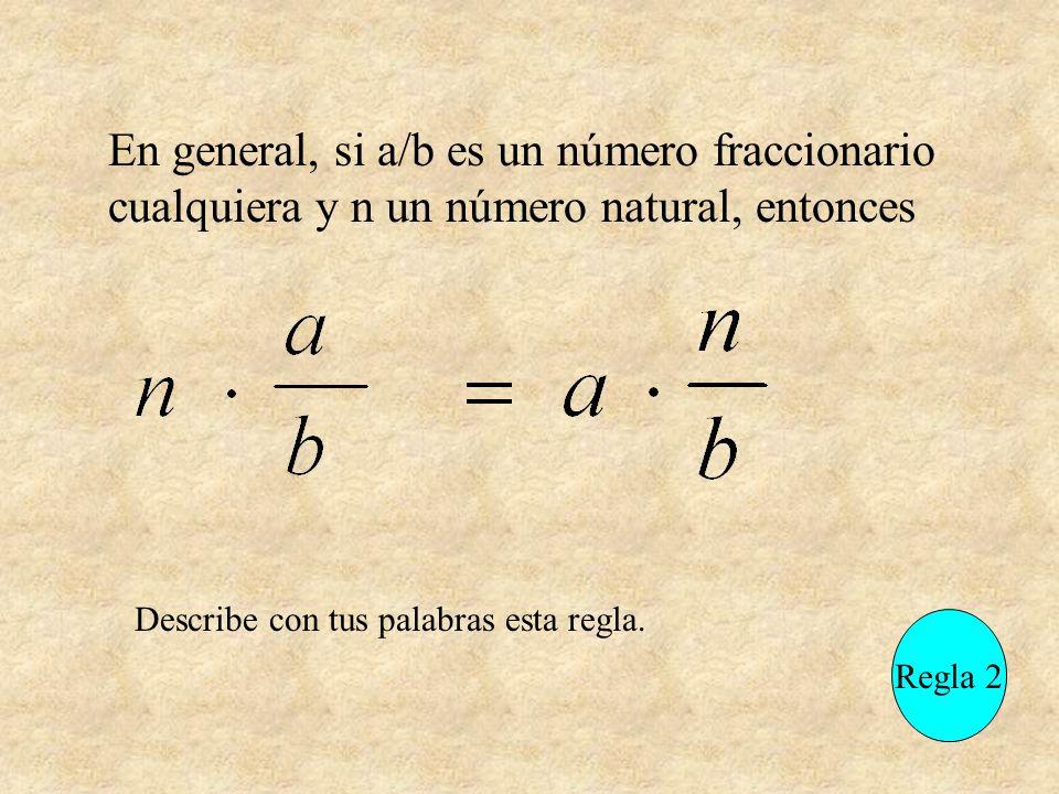 En general, si a/b es un número fraccionario cualquiera y n un número natural, entonces