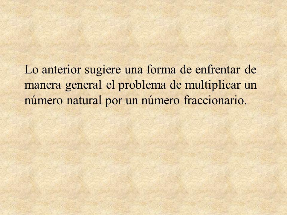 Lo anterior sugiere una forma de enfrentar de manera general el problema de multiplicar un número natural por un número fraccionario.