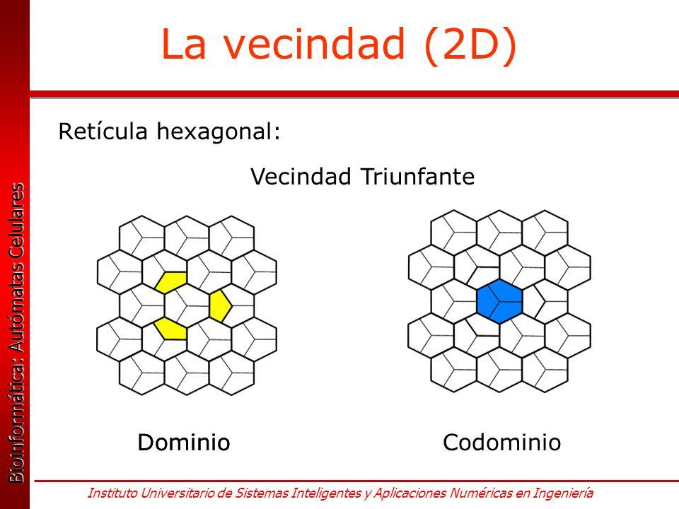 La vecindad (2D) Retícula hexagonal: Vecindad Triunfante Dominio