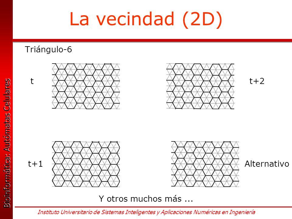 La vecindad (2D) Triángulo-6 t t+2 t+1 Alternativo