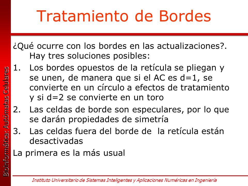 Tratamiento de Bordes ¿Qué ocurre con los bordes en las actualizaciones . Hay tres soluciones posibles: