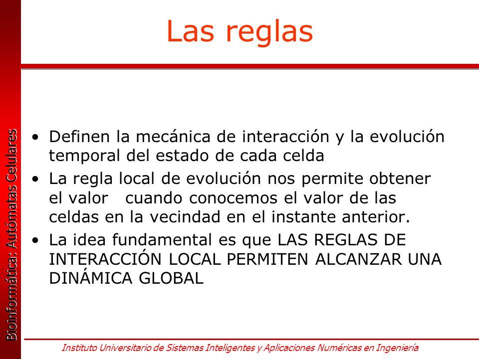 Las reglas Definen la mecánica de interacción y la evolución temporal del estado de cada celda.