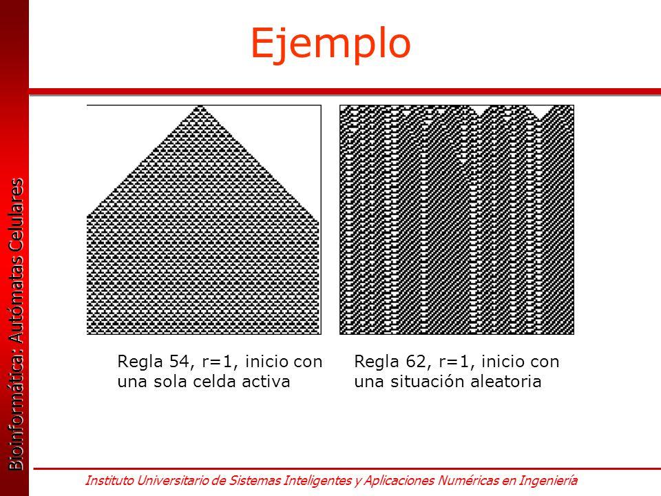 Ejemplo Regla 54, r=1, inicio con una sola celda activa