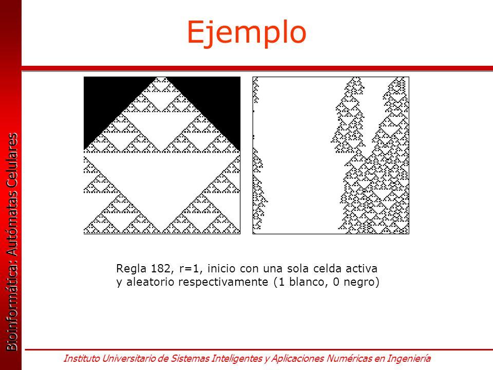 Ejemplo Regla 182, r=1, inicio con una sola celda activa y aleatorio respectivamente (1 blanco, 0 negro)