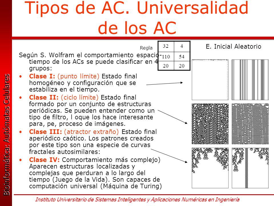 Tipos de AC. Universalidad de los AC
