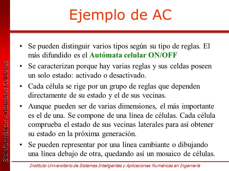 Ejemplo de AC Se pueden distinguir varios tipos según su tipo de reglas. El más difundido es el Autómata celular ON/OFF.