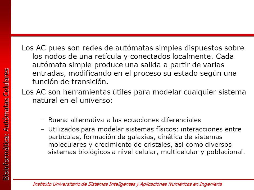 Los AC pues son redes de autómatas simples dispuestos sobre los nodos de una retícula y conectados localmente. Cada autómata simple produce una salida a partir de varias entradas, modificando en el proceso su estado según una función de transición.