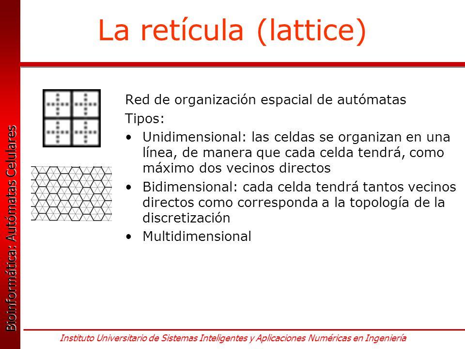 La retícula (lattice) Red de organización espacial de autómatas Tipos: