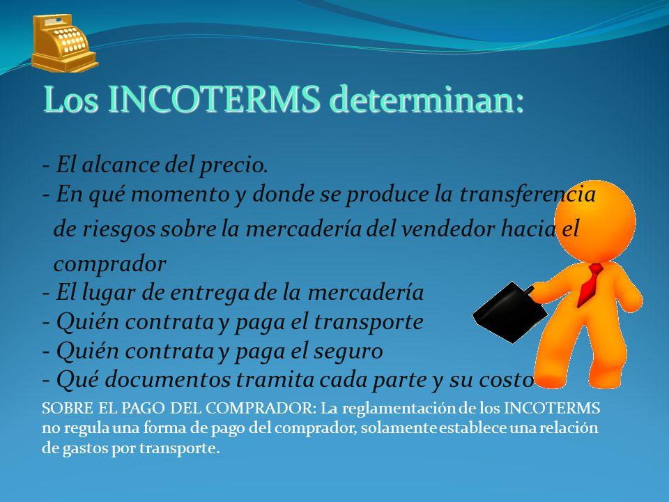 Los INCOTERMS determinan: - El alcance del precio