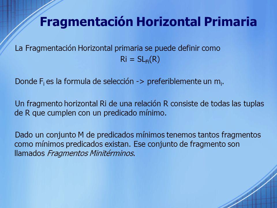 Fragmentación Horizontal Primaria
