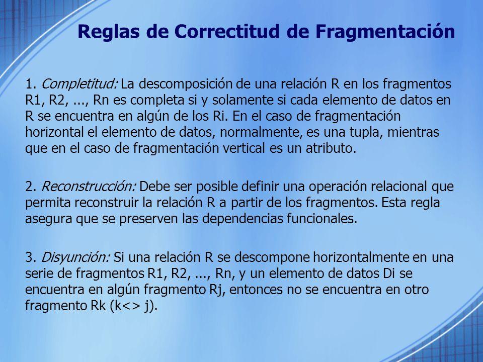 Reglas de Correctitud de Fragmentación