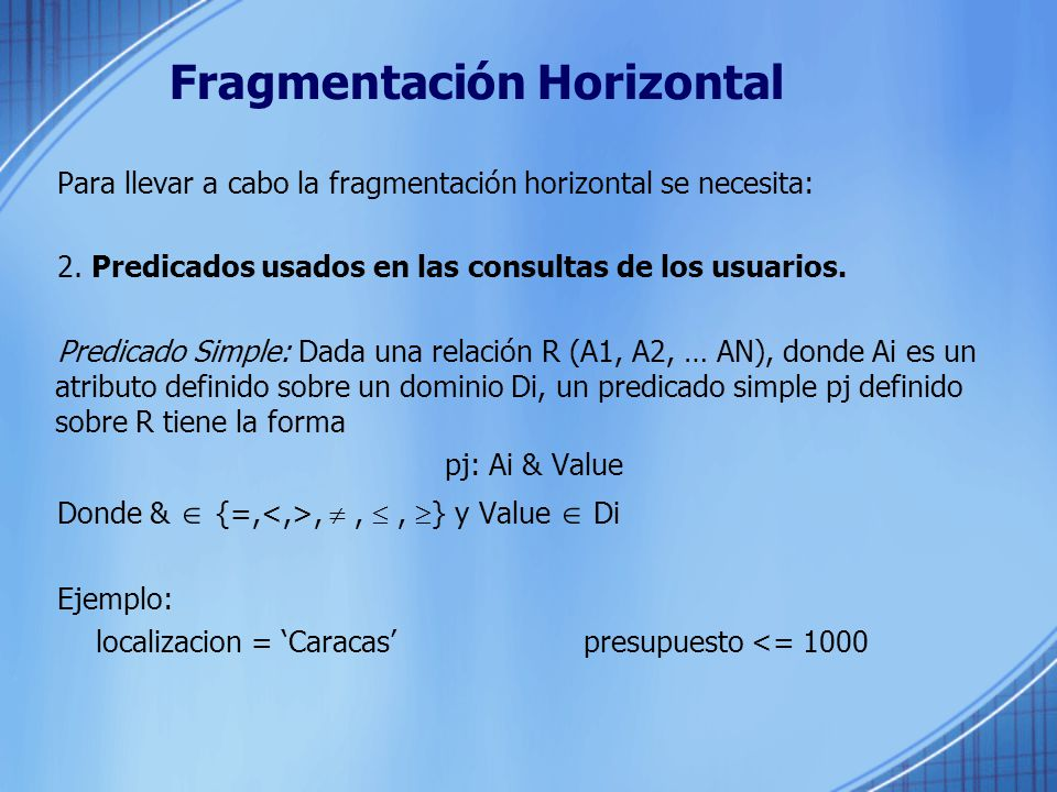 Fragmentación Horizontal