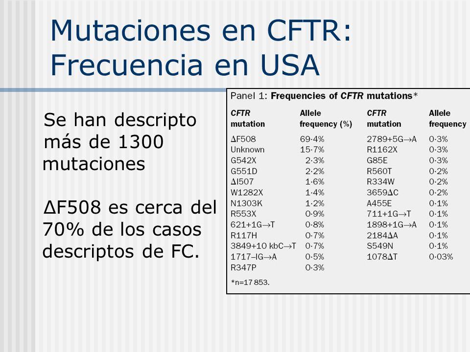 Mutaciones en CFTR: Frecuencia en USA