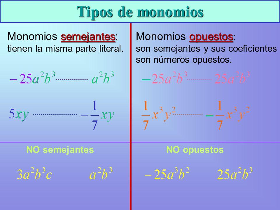 Tipos de monomios Monomios semejantes: tienen la misma parte literal.