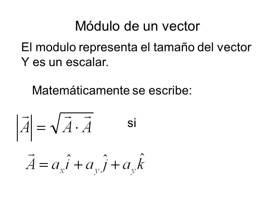 Módulo de un vector El modulo representa el tamaño del vector