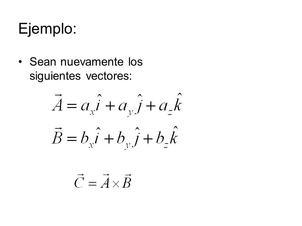 Ejemplo: Sean nuevamente los siguientes vectores: