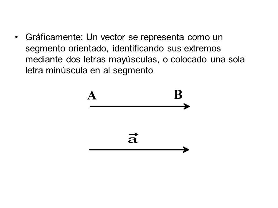 Gráficamente: Un vector se representa como un segmento orientado, identificando sus extremos mediante dos letras mayúsculas, o colocado una sola letra minúscula en al segmento.
