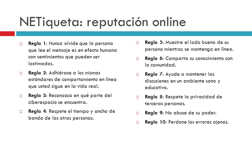 NETiqueta: reputación online