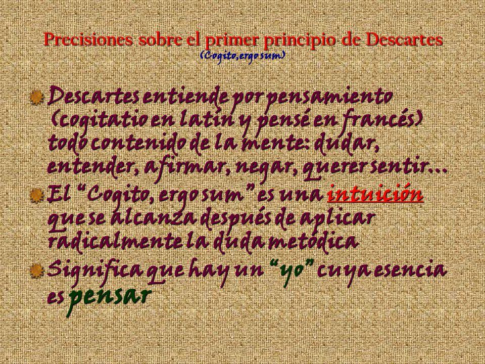 Precisiones sobre el primer principio de Descartes (Cogito,ergo sum)