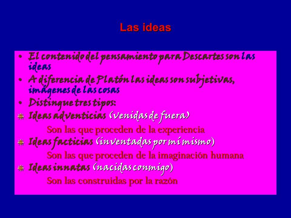 Las ideas El contenido del pensamiento para Descartes son las ideas