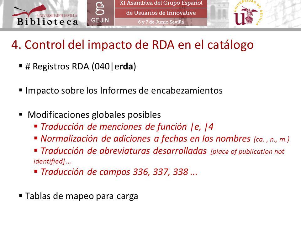 4. Control del impacto de RDA en el catálogo