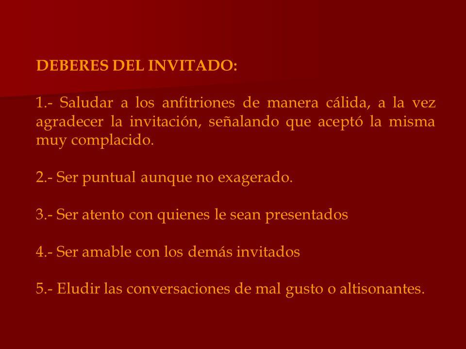 DEBERES DEL INVITADO: 1.- Saludar a los anfitriones de manera cálida, a la vez agradecer la invitación, señalando que aceptó la misma muy complacido.