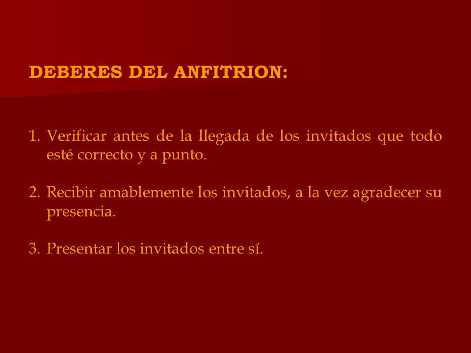 DEBERES DEL ANFITRION: