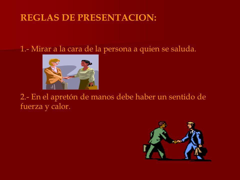 REGLAS DE PRESENTACION: