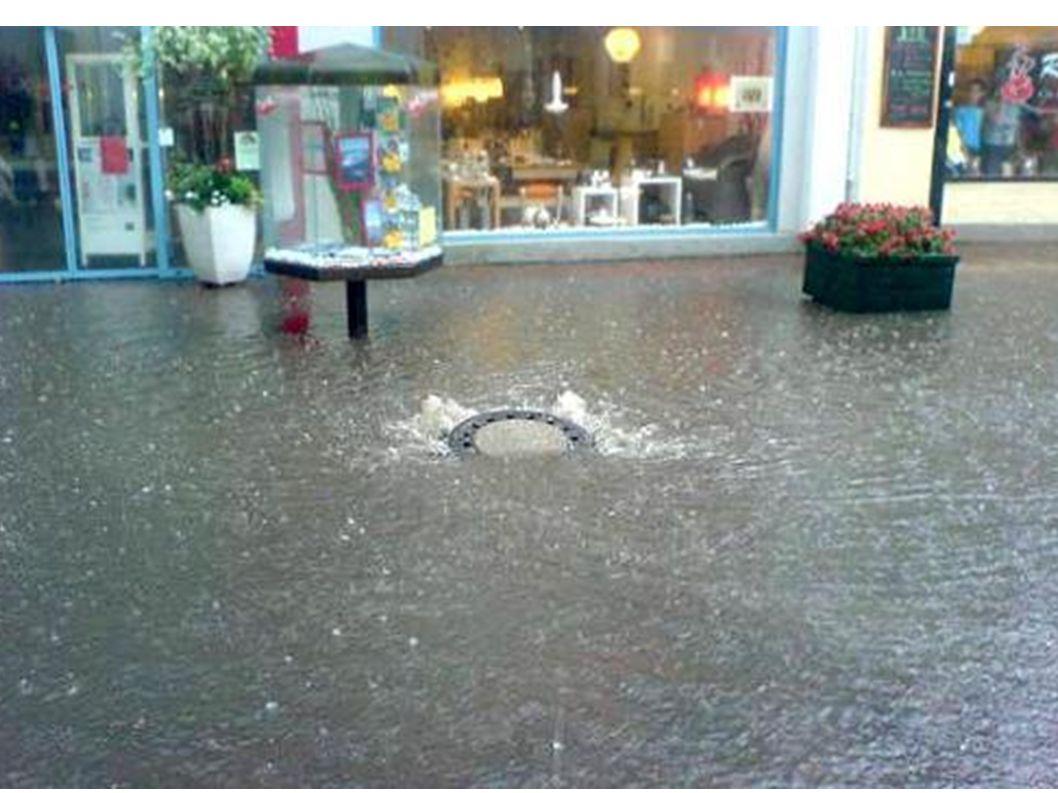 Gully überschwemmt.