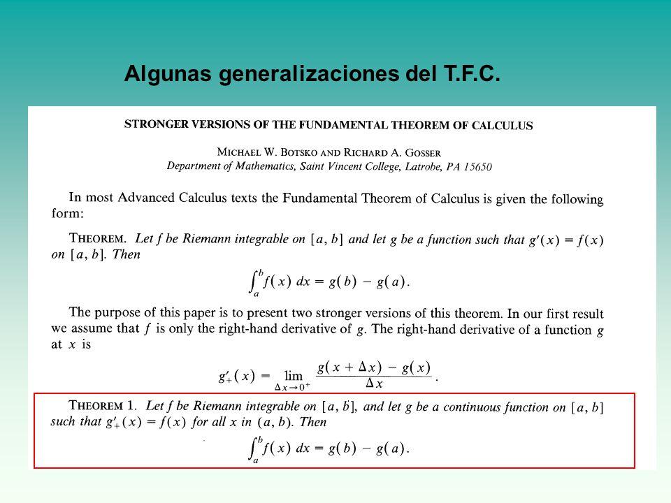 Algunas generalizaciones del T.F.C.