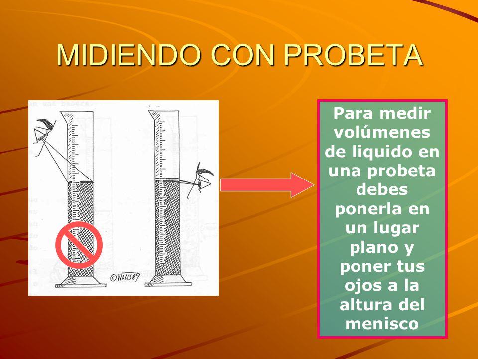 MIDIENDO CON PROBETA Para medir volúmenes de liquido en una probeta debes ponerla en un lugar plano y poner tus ojos a la altura del menisco.
