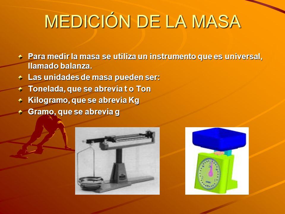 MEDICIÓN DE LA MASA Para medir la masa se utiliza un instrumento que es universal, llamado balanza.