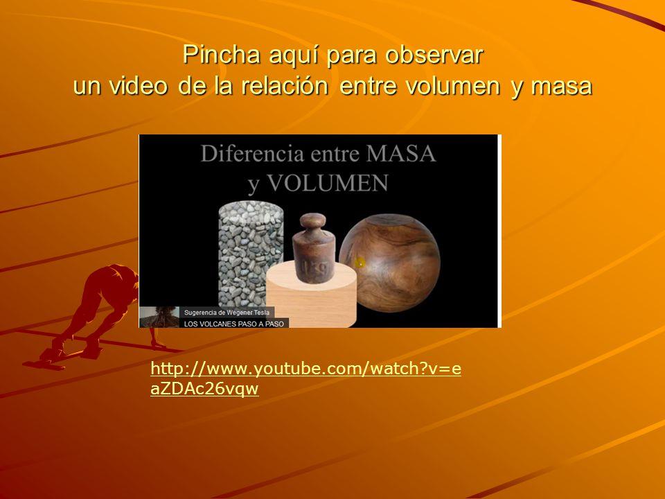 Pincha aquí para observar un video de la relación entre volumen y masa