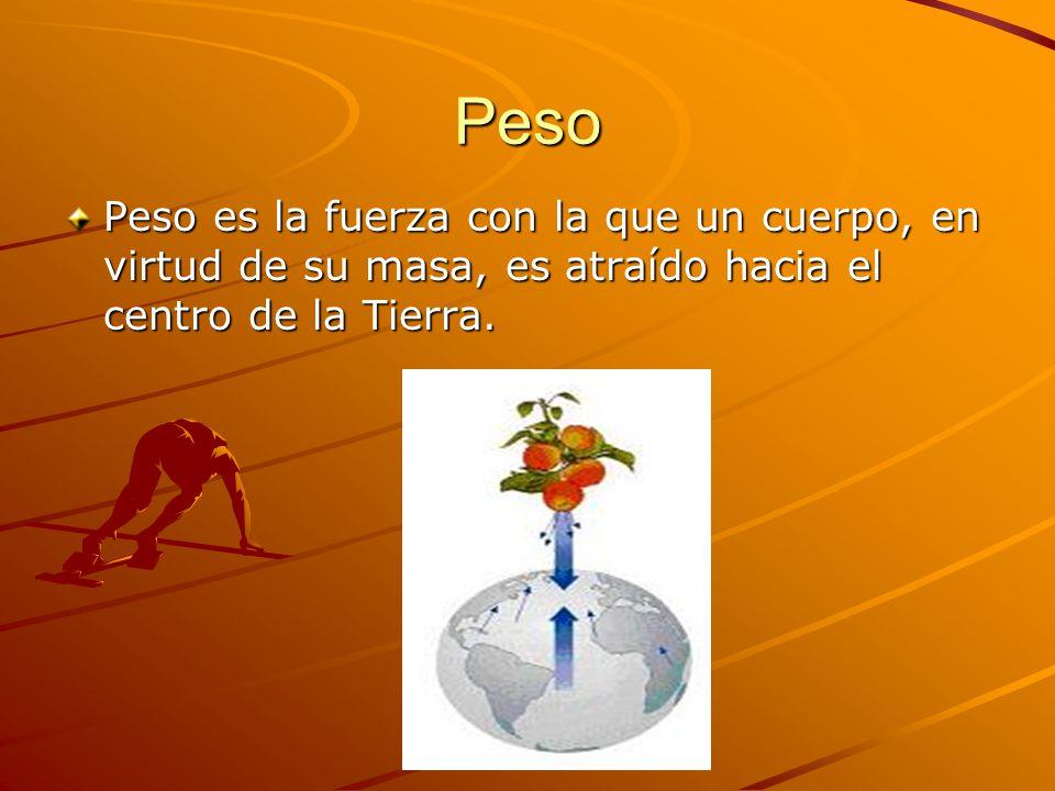 Peso Peso es la fuerza con la que un cuerpo, en virtud de su masa, es atraído hacia el centro de la Tierra.