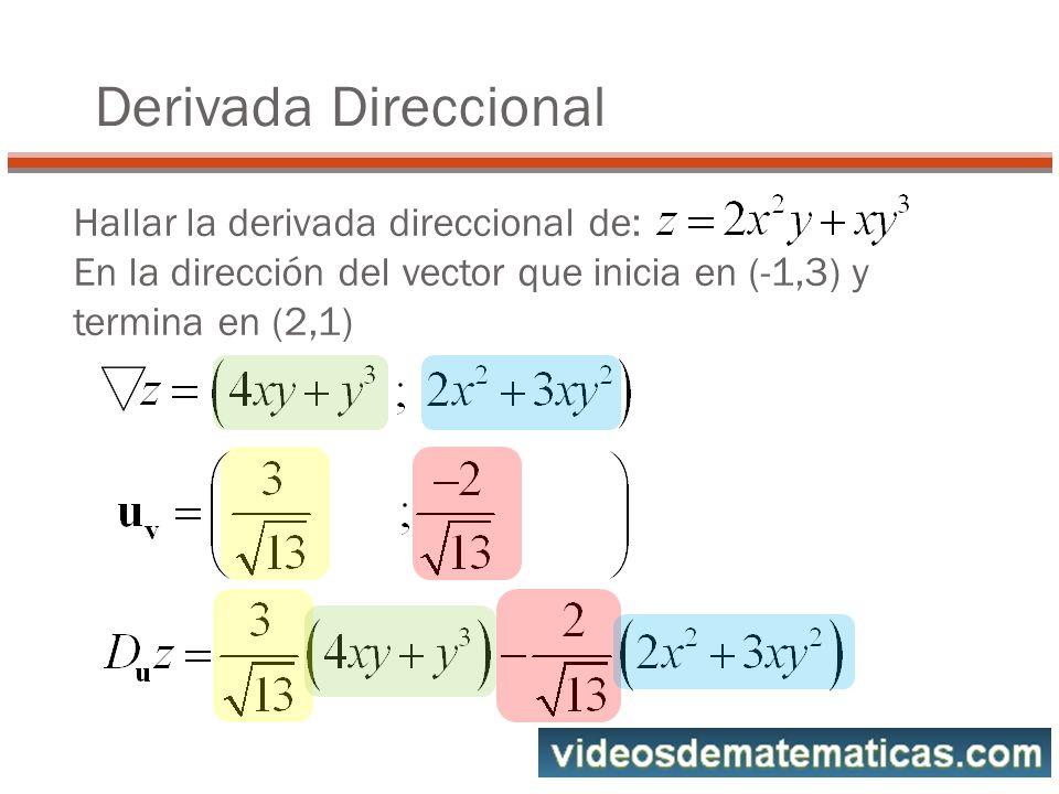 Derivada Direccional Hallar la derivada direccional de: