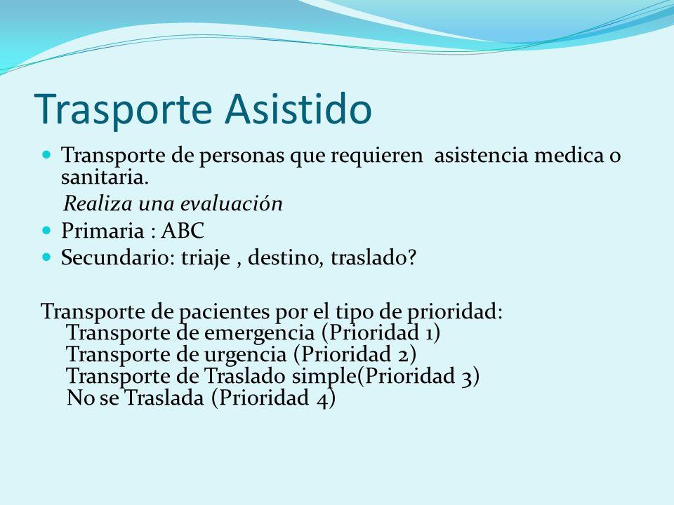 Trasporte AsistidoTransporte de personas que requieren asistencia medica o sanitaria. Realiza una evaluación.