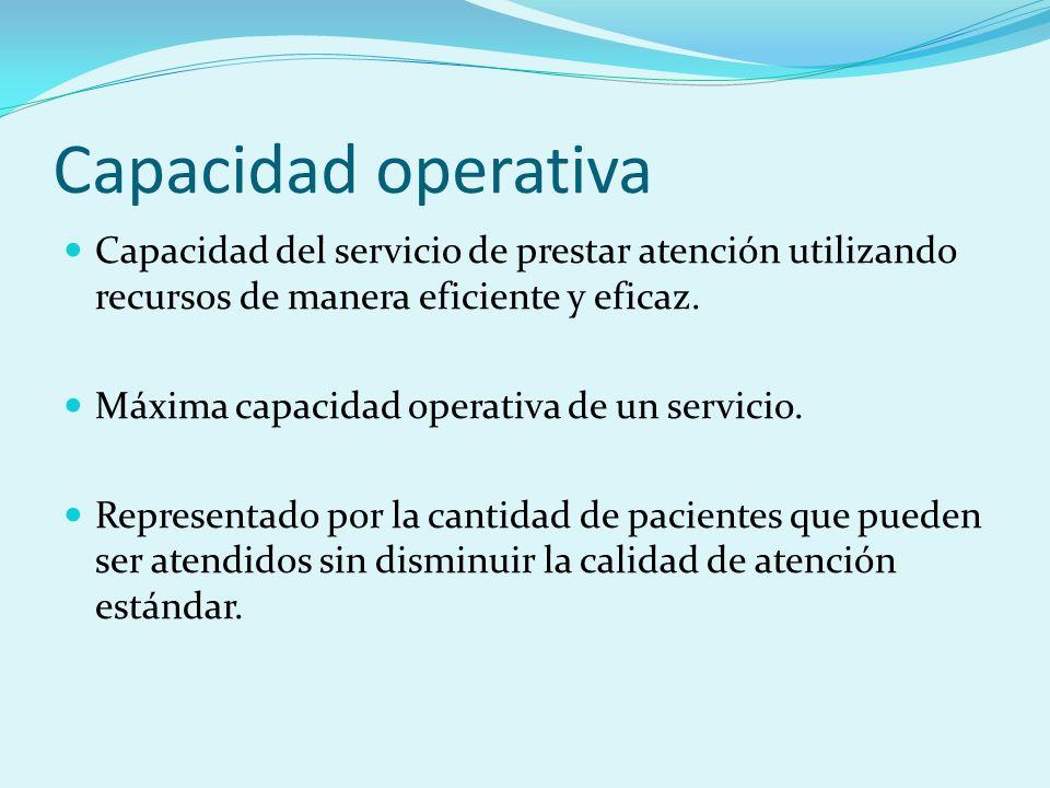 Capacidad operativaCapacidad del servicio de prestar atención utilizando recursos de manera eficiente y eficaz.