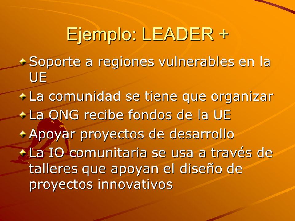 Ejemplo: LEADER + Soporte a regiones vulnerables en la UE